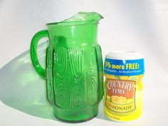 Elegant Vintage Green Glass Water Pitcher by GreenTrifles on Etsy, $16.00