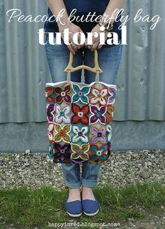 Peacock Butterfly Crochet Bag - free pattern & tutorial @ Happy in Red, woweeeee thanks so xox ☆ ★ https://www.pinterest.com/peacefuldoves/