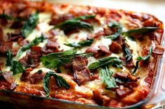 Roasted Butternut Squash Lasagna with Goat Cheese, Bacon, and Fried Sage, a recipe on Food52