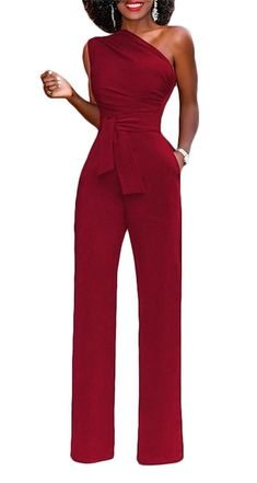 Elegant Office Work Overalls for Women Ruffles Straight Wide Leg High Waist Long Jumpsuit red,Red,S,United States