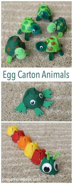 Die sind so süß, eigentlich müsste man sie sofort vernaschen :) Egg Carton Animal Crafts - Make turtles, frogs, and caterpillars! Fun project for kids. #ad Fun Projects For Kids, Fun Crafts For Kids, Craft Activities For Kids, Toddler Crafts, Crafts To Make, Art For Kids, Crafts For Children, Creative Ideas For Kids, Kids Diy