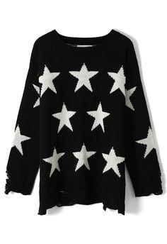 Shredded Stars Print Black Sweater