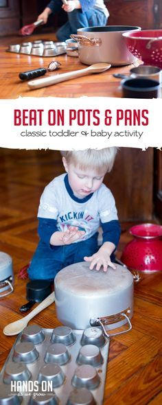 Beating on pots and pans to make music is a great sensory activity for toddlers and babies. Dig out the pots and pans and make some music! via handsonaswegrow Preschool Music Activities, Sensory Activities Toddlers, Movement Activities, Fun Activities For Kids, Indoor Activities, Infant Activities, Parenting Toddlers, Baby Sensory, Learning Games