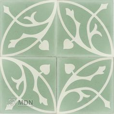 Portugese cement tegels 20×20 groen wit bloem motief type 42 Beach Cottages, Floors, Patio, Ceramics, Mansions, Bathroom, Vintage, Home Decor, Flats