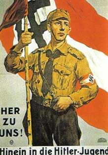Join us in the Hitler Youth! A typical propaganda poster of the Hitler Youth