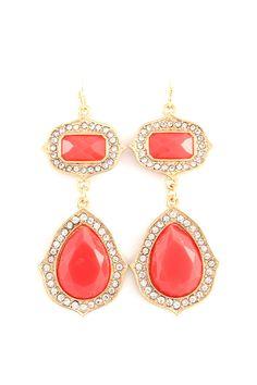 Sabrina Teardrop Earrings in Coral