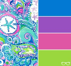 Blue, purple, pink, and green color scheme Purple Color Schemes, Color Schemes Colour Palettes, Green Colour Palette, Blue Colour Palette, Color Trends, Lily Pulitzer, Yarn Color Combinations, Green Quilt, Colour Board
