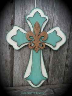 Country Chic Fleur De Lis Cross by SewInspiredBoutique on Etsy, $35.00