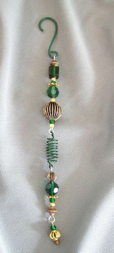 Beaded Christmas Ornament, Green and Gold Ornament, Holiday Decoration
