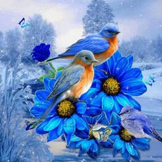 29 Super Ideas For Blue Bird Painting Bluebirds Sweets Mosaic Pictures, Bird Pictures, Mosaic Flowers, Blue Flowers, Blue Daisies, Pretty Birds, Beautiful Birds, Cross Crafts, Flower Bird