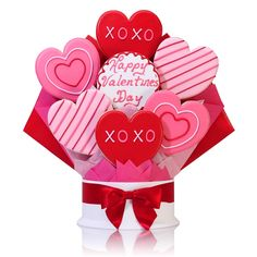 Impress your special sweetie with these elegantly accented extra large red and pink heart-shaped shortbread cookies. Arranged in a beautiful bouquet, your gift is sure to be a delightful surprise.   SHOP NOW: www.KimsLabellabaskets.com