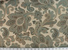 Drapery Upholstery Fabric Rustic Jacquard Floral - Teal, Brown, Tan on Beige  #Unbranded