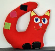 Red Cat - Marcel, children toy, decor, art, sleeping soft budy, valentine heart