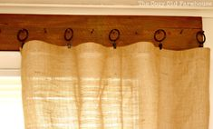 """The Cozy Old """"Farmhouse"""": We FINALLY Have Curtains!! This is how I'm going to have my livingroom curtains! I might even use burlap! It'd go nice with my primitive western theme."""