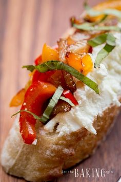 Caramelized Onion, Bell Pepper and Goat Cheese Crostini – Let the Baking Begin!