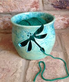 Aqua Yarn Bowl with Dragonfly cut out design. £40.00 +P&P  Made to order.