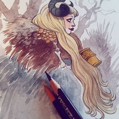 Lady Faun. watercolor and a dash of white gouache! :-) #sketch #sketches #artwork #comicartist #traditionalart #fantasy #illustration #faun #fantasyart #pencilart #traditionalart #characterdesign #instaart #comicsart #artcomics #artoninstagram #art #illustration #drawing #valentinepasche #valp