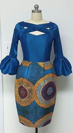 African Print Fitted Waist Tulip Dress. Box Pleats. Contrast. dutch wax, kente, kitenge, dashiki, African styles, African prints, Nigerian style, senegal fashion, ankara styles, african clothes, dashiki, african dress, african clothing, african print dresses, African dress styles, fallfashion, womens fashion #ankara #africanprint #kente