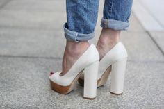 Denim & white block heels