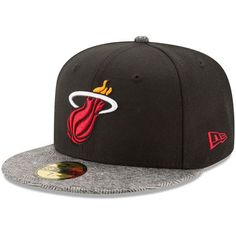 brand new 8d3d6 2acd8 Miami Heat New Era Gripping Vize 59FIFTY Fitted Hat - Black