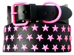 """$73.95 - Not your average, star, dog collar! #Big #dogs can be fashion-forward too with these fabulous, #colorful star, #pet #collars made of Genuine Latigo #Leather and powder-coated #stars. Available in #BLACK, #PINK, #GOLD, #TEAL, #RED, #PURPLE, #CORONA #LIME, BLUE, #RASPBERRY and #WHITE. One size only. *Fits pets with neck sizes of 24""""-28"""". *Made in the #USA! #pets #cute #fashion #shop #onineboutique #retail #largebreed"""