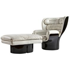 """Scarce """"Elda"""" Armchair with Ottoman by Joe Colombo   From a unique collection of antique and modern lounge chairs at http://www.1stdibs.com/furniture/seating/lounge-chairs/"""