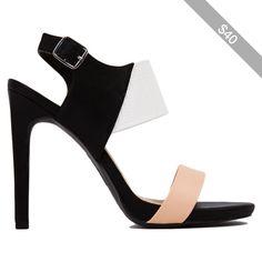 Slingback Black Multi Color Block Heels