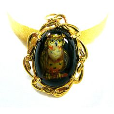 Owl Hand Painted Cameo Pendant Original Art 12K Gold Fill Filigree... ($26) ❤ liked on Polyvore featuring jewelry, owl jewellery, owl pendant, pendant jewelry, filigree pendant and gemstone jewellery