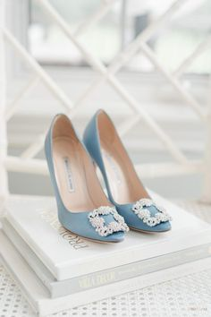 Looking for something blue? This wedding will give you some serious inspo! Olivia and Welles's wedding was an opulent affair. Having married a year earlier in Manhattan at City Hall, the couple… Bridal Wedding Shoes, Blue Wedding Shoes, Bridal Heels, Bridal Style, Wedding Day, Designer Wedding Shoes, Wedding Garters, Wedding Pumps, Elegant Wedding