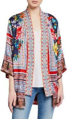 Johnny Was Plus Size Bernie Multi-Print Silk Georgette Kimono Vogue Fashion, Kimono Fashion, Fashion Outfits, Look Kimono, Kimono Sewing Pattern, Johnny Was Clothing, Kimono Cardigan, Kimono Jacket, Primark
