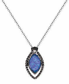 Judith Jack Sterling Silver Marcasite (1/3 ct. t.w.) and Blue Opal Doublet (2 ct. t.w.) Marquise Pendant Necklace