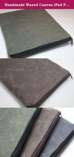 "Handmade Waxed Canvas iPad Pro 9.7"" Case, iPad 12.9"" Case, Water Resistant Lining - Available in 8 Colors. Monogramming Available. Each item is customized to your specifications and hand-made by me. Quality is my top priority. I will customize this case to fit the 9.7"" or 12.9"" iPad Pro. Let Me know if you have a keyboard with your iPad Pro so I will take it in consideration when I make this case for you. Let me know if you have the apple pen so I would create a loop to hold it inside the..."