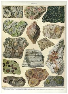 TYPE List of Rock, Mineral Antique Poster - French Dictionary Color Illustration. $13.00, via Etsy.