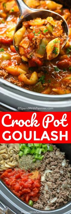 Crockpot Goulash is an easy make ahead meal! Tender ground beef and tomatoes sim… Crockpot Goulash is an easy make ahead meal! Tender ground beef and tomatoes simmered in a zesty tomato sauce in the slow cooker. Crockpot Goulash Recipe, Goulash Slow Cooker, Crockpot Dishes, Crock Pot Slow Cooker, Crock Pot Cooking, Beef Dishes, Pasta Dishes, Slow Cooker Desserts, Slow Cooker Recipes
