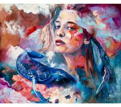 Precision of Sight - an original seascape painting by Dimitra Milan thatPrecision of Sight - an original seascape painting by Dimitra Milan that features the portrait of a young woman surrounded by whales swimming in an atmospheric swirl of colors.