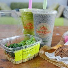 Quinoa Ranchero salad, Originator and Peachy Green Smoothies, and a Mannawich from Juiceland