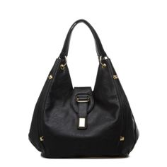 Dunn - Updated faux-leather hobo bag with gold hardware
