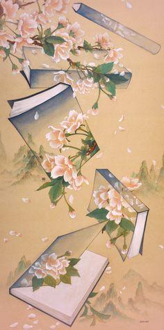 Life is short, art is long! Korean Painting, Chinese Painting, Silk Painting, Painting & Drawing, Asian Paints, Korean Art, Art Template, Japan Art, Art Classroom
