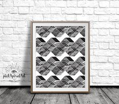 Black and White Geometric Wall Art Minimalist by pickApixelArt