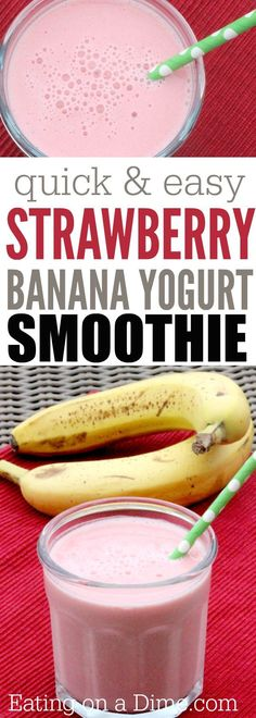 Looking for kid friendly smoothies? Your kids will love this easy Yogurt Strawberry Banana Smoothie Recipe. Banana Smoothie Recipes, Kid Smoothies, Healthy Smoothies For Kids, Smoothie Recipes For Kids, Healthy Smoothies Easy, Smoothies For Babies, Banana Recipes For Kids, Smoothie Recipes Meal Replacement, Juice Recipes For Kids
