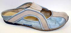 Diesel 'Kevlih' Blue Satin & Leather Mule Size 38/US 7.5M #DIESEL #Mules