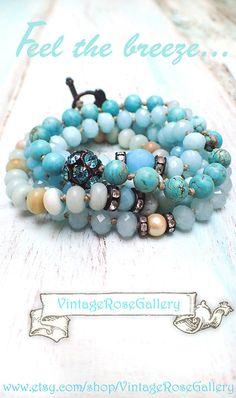 AQUA #VintageRoseGallery #etsy Boho Chic Necklace and Bracelet, Turquoise Long Beaded Necklace  Gemstones and Glass,   by VintageRoseGallery