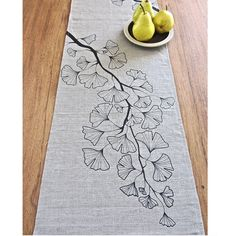 for the dining room Gingko Trail Linen Table Runner - Natural / Black Border Embroidery Designs, Hand Work Embroidery, Hand Embroidery Patterns, Ribbon Embroidery, Embroidery Stitches, Art Du Fil, Brazilian Embroidery, Linocut Prints, Paint Designs