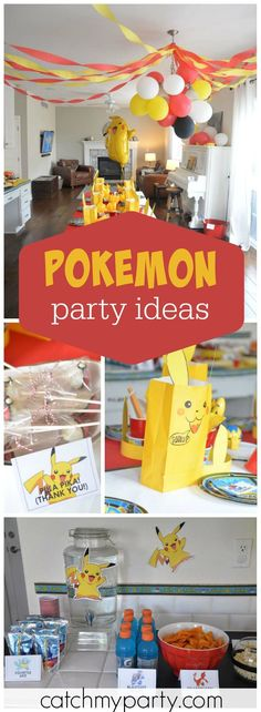 Check out Pikachu at this Pokemon birthday party! See more party ideas at Catchmyparty.com!