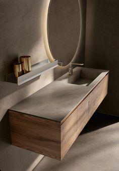 Washroom Design, Bathroom Design Luxury, Modern Bathroom Design, Home Interior Design, Toilet Vanity, Bathroom Vanity Units, Bathroom Cabinets, Oak Vanity Unit, Lavabo Design