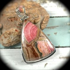 Rhodochrosite sterling silver pendant/necklace
