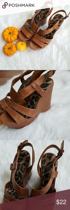 "6B Jessica Simpson Wedges Brown leather wedge sandals. Good condition. No box. 5"". Jessica Simpson Shoes Wedges"