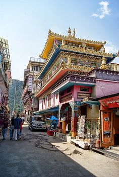 Lhasa street scene. Lhasa is the administrative capital of the Tibet Autonomous Region, China. At an altitude of 11,450 ft., it is one of the highest cities in the world. Lhasa has many significant Tibetan Buddhist sites.
