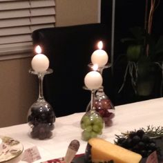 Wine and cheese party, we used 3 different grapes for decorating the upside down glasses!