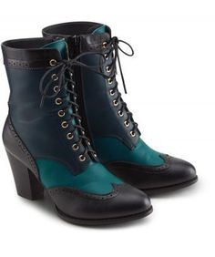 Be a total original in these unique ankle boots. Bringing together vibrant teal with amazing brogue styling; they're the perfect partner for your autumnal dresses, or keep it simple with a great pair of jeans. Heel height: 9cm
